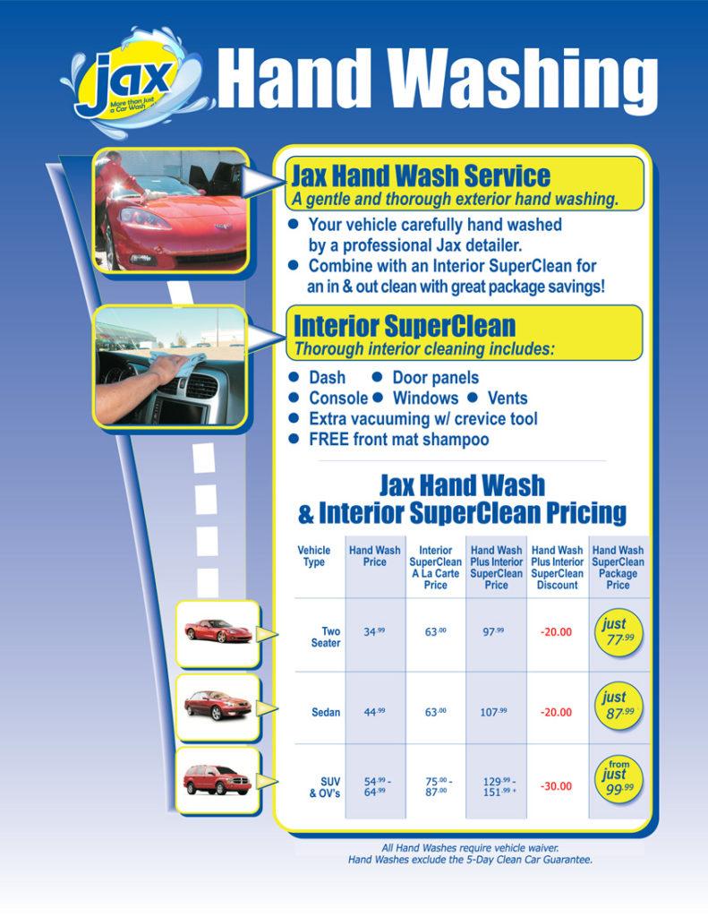 Hand Wash Car Wash >> Car Wash Services Menu At Jax Kar Wash