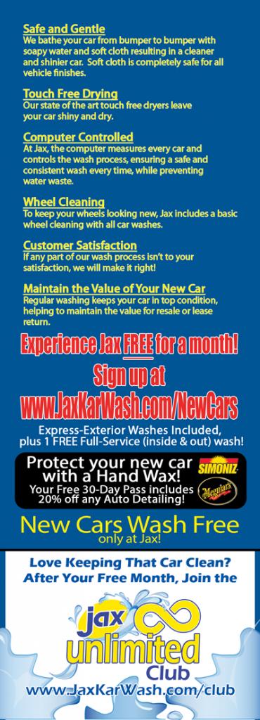 New Cars Wash Free at Jax (Back)