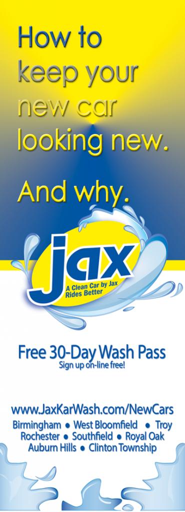 New Cars Wash Free at Jax