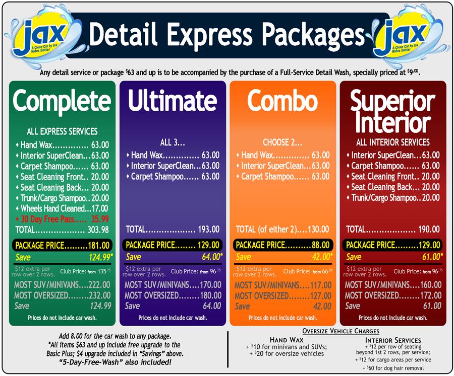 Jax Detail Express Menu